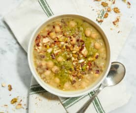 Chickpea and Lentil Soup with Dukkah