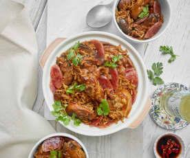 Chicken, Mushroom and Chinese Sausage Rice