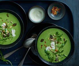 Geeiste Rucola-Joghurt-Suppe
