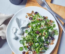 Feldsalat mit Joghurt-Blutorangen-Dressing