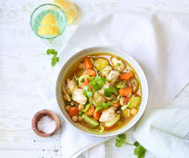 Gemüse-Miso-Suppe mit Hähnchen