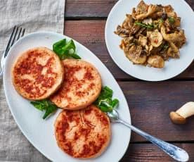 Burger di prosciutto e contorno di funghi