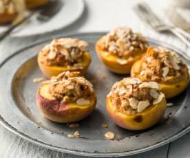 Amaretti Stuffed Peaches with Saffron Zabaglione - Pesche ripiene con Amaretti e zabaione allo zafferano