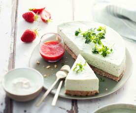 Cheesecake sans cuisson au basilic