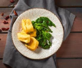 Baccalà croccante con friarielli piccanti