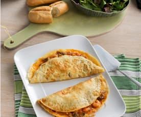 Tortillas a la francesa rellenas de pisto lucense