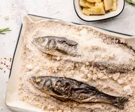 Poisson en croûte de sel à la méditerranéenne et fenouil caramélisé