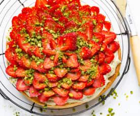 Tarte aux fraises, crème à la pistache