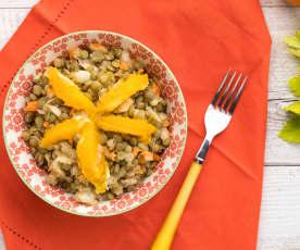 Insalata di lenticchie verdi, arance e zenzero