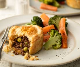 Mini Minced Beef Pies with Steamed Vegetables