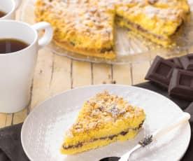 Bezlepkový drobenkový koláč s ricottou a čokoládou