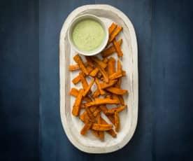 Peri peri sweet potato fries with coriander yoghurt sauce
