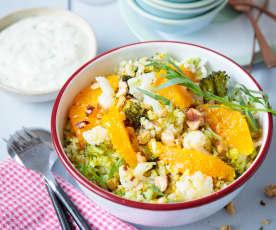 Salade de boulgour, chou-fleur et brocoli en deux textures