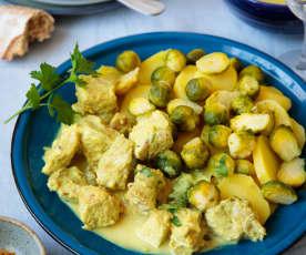 Sauté de veau au curry, pommes de terre et choux de Bruxelles