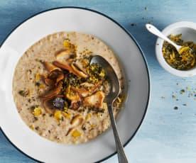 Buchweizen-Pilz-Suppe mit Rahm