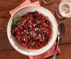 Spelt Risotto with Beets and Goat Cheese
