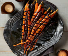 Roasted Carrots with Black Sesame Drizzle