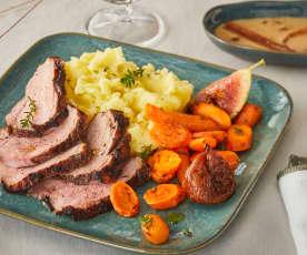 Magret de canard au miel, carottes et figues rôti, écrasé de pommes de terre à l'huile de truffe