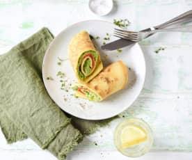 Omelette-Wraps mit Lachs-Erbsen-Creme
