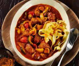 Cajun-Fleisch mit buntem Gemüse