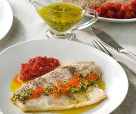 Perca asada, compota de tomate y vinagreta de huevas de salmón