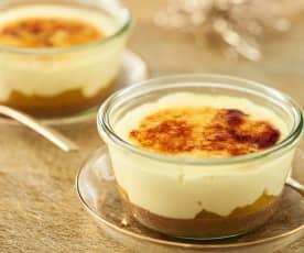 Crema de vainilla con pera al azafrán
