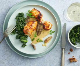Involtini di pollo con spugnole e spinaci