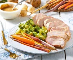 Pork Tenderloin with Carrots and Pesto Potatoes