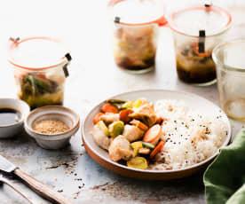 Tarros de verdura y pavo en Varoma con arroz largo