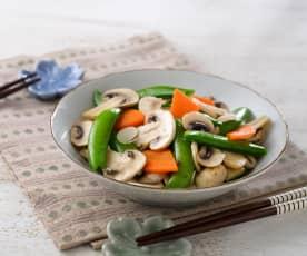 洋菇炒豌豆莢