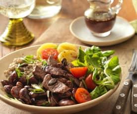 Buchweizen Bowl mit Rinderfilet und Käferbohnen