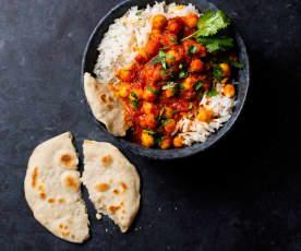 Arroz basmati con curry de garbanzos y pan indio (Cocción de arroz)