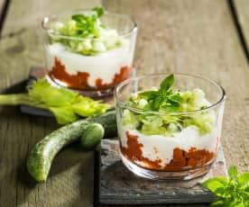 Granita ai pomodorini con yogurt, sedano e cetrioli