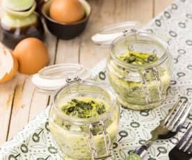 Frittata di spinaci e formaggi in vasocottura