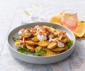 Grilled potato salad with pangrattato