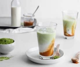 Ice tea matcha com caramelo de coco