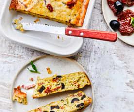 Clafoutis de courgettes aux tomates confites et bacon