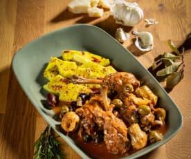 Huhn à la Toskana mit Polenta
