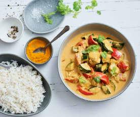 Pollo al curry de coco con arroz