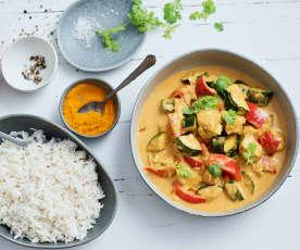 Curry di pollo con riso basmati