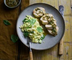Rolos de frango em sous-vide com chimichurri e salada de aipo e maçã