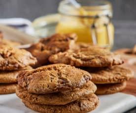 Galletas de chispas de chocolate y mantequilla dorada