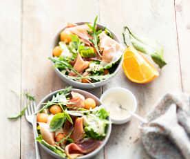 Salade de jambon serrano au melon et crème à l'orange