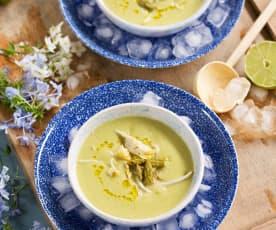 Gazpacho Thai de alcachofas y espárragos