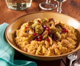 White Bean Quinoa Risotto with Roasted Brussels Sprouts