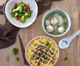 午餐肉美乃滋飯&菜頭貢丸湯、香菇炒青花菜
