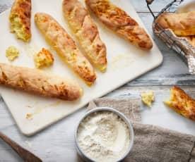 Baguettes apéritives au curry et fromage