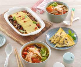 蕃茄麵片湯、鮮菇豆腐&菜脯蛋