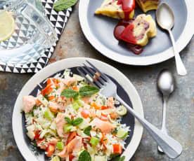 Salade de riz, tomates, fenouil et saumon - Gâteau vanille et fruits rouges