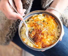 Risotto aux oignons caramélisés et à la mimolette